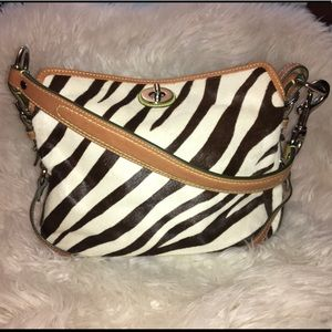 COACH Brown & White Zebra Stripe Purse EUC